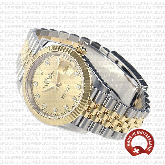 Rolex Datejust Two-Tone Jubilee Bracelet 18k Yellow Gold, Fluted Bezel Gold Diamond Dial 41mm