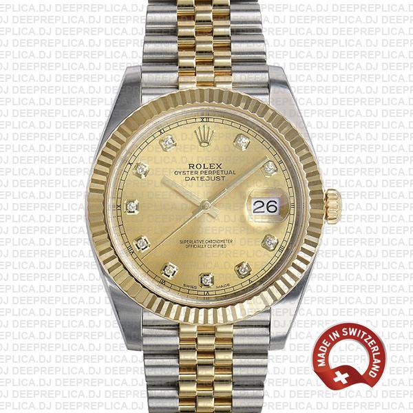 Rolex Datejust 41 Two-Tone Gold Dial Diamonds Jubilee Replica