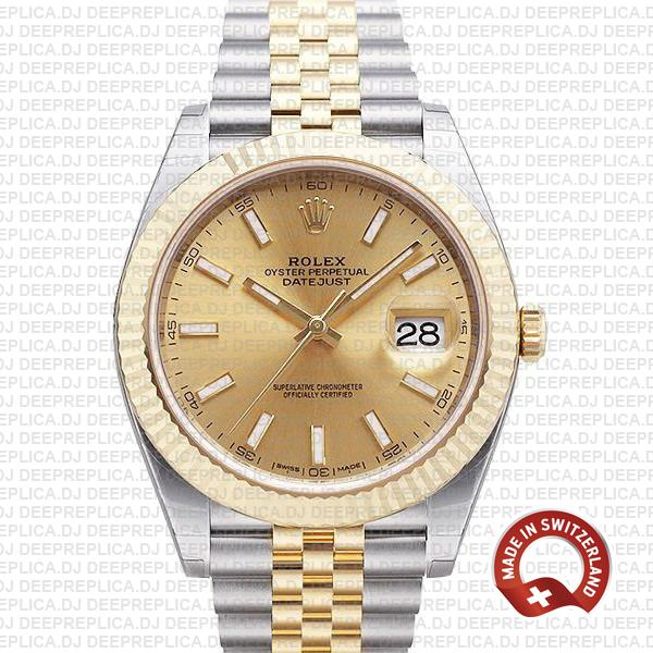 Rolex Datejust 41 Gold Dial Jubilee | High Quality Replica Watch