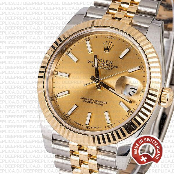 Rolex Oyster Perpetual Datejust 18k Yellow Gold Two-Tone Gold Dial, Stainless Steel 41mm in Jubilee Bracelet
