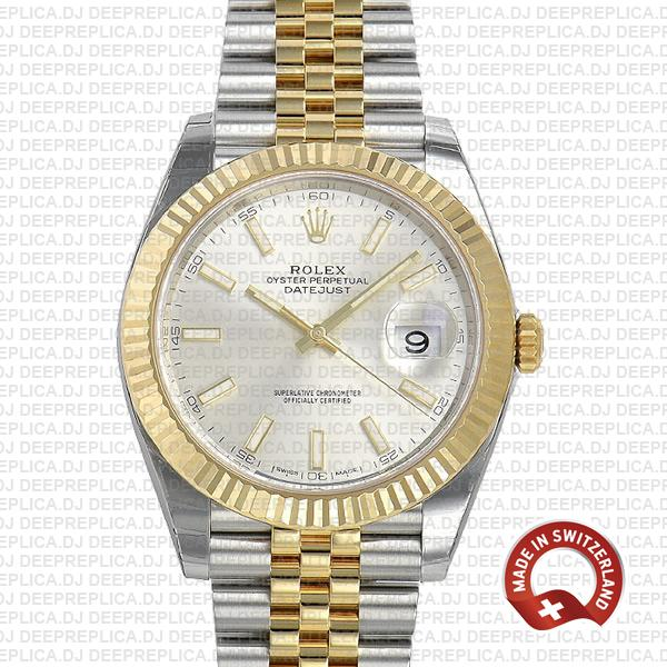 Rolex Datejust 41 Two-Tone 18k Yellow Gold, 904L Steel Fluted Bezel Silver Dial Stick Markers 41mm