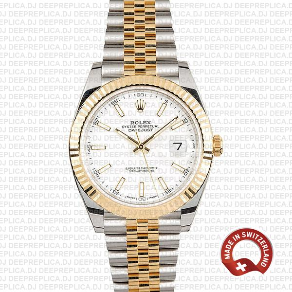 Rolex Datejust Two-Tone Fluted Bezel White Dial Replica Watch