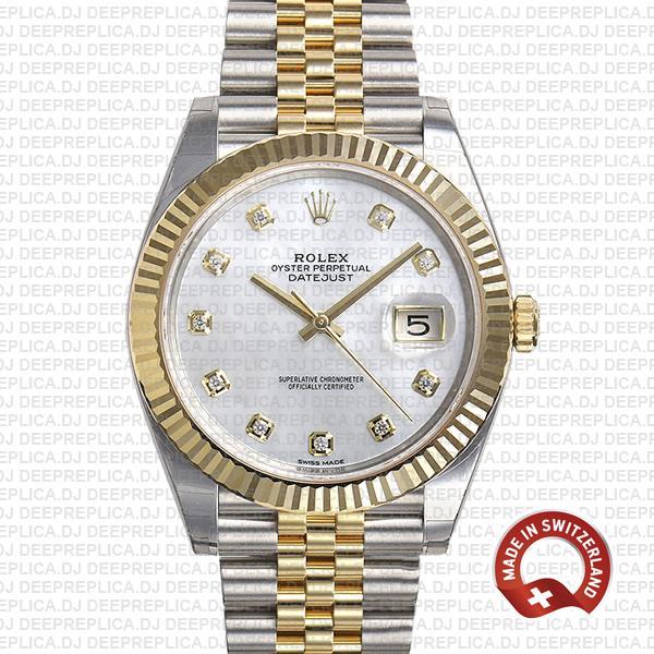 Rolex Datejust 41 Two-Tone White Dial Diamonds Replica Watch