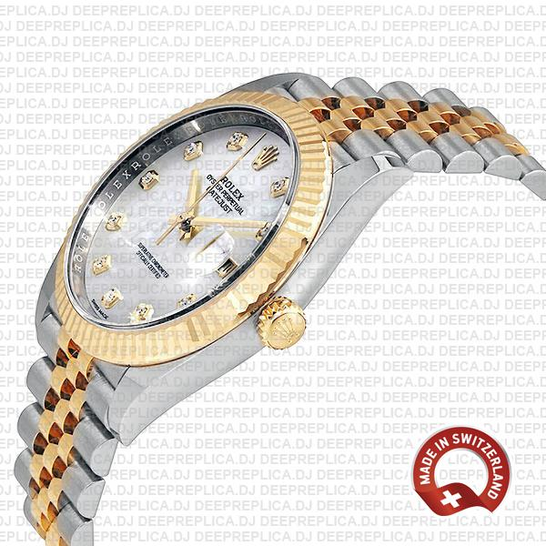 Rolex Datejust 41mm Two-Tone 18k Yellow Gold, Fluted Bezel White Mother of Pearl Diamond Dial