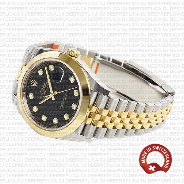 Rolex Oyster Perpetual Datejust 41 Jubilee Bracelet Two-Tone, Stainless Steel 18k Yellow Gold Smooth Bezel Black Dial Replica Watch