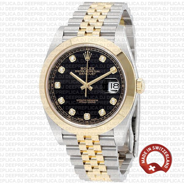 Rolex Datejust 41mm Black Dial Diamonds Best Replica Rolex Watch