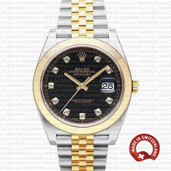 Rolex Datejust 41mm Black Dial Diamonds Replica Rolex Watch