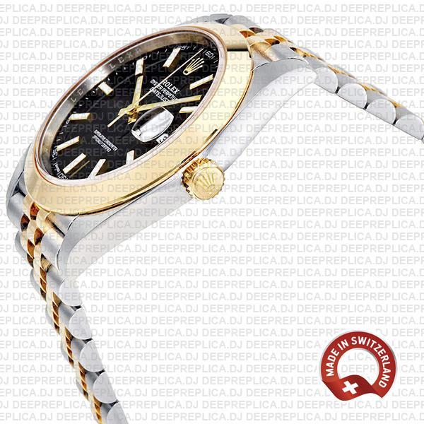 Rolex Datejust 41 Jubilee 2 Tone 18k Yellow Gold Smooth Bezel Black Dial Stick Markers 126303 Swiss Replica