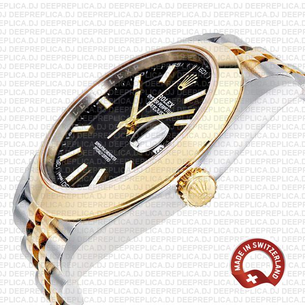 Rolex Datejust Two-Tone 18k Yellow Gold Jubilee Bracelet Smooth Bezel Black Dial Stick Markers 41mm