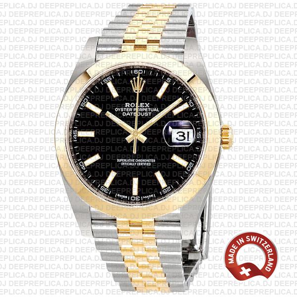 Rolex Datejust Two-Tone 18k Yellow Gold Jubilee Bracelet Smooth Bezel Black Dial Stick Markers 41mm Watch