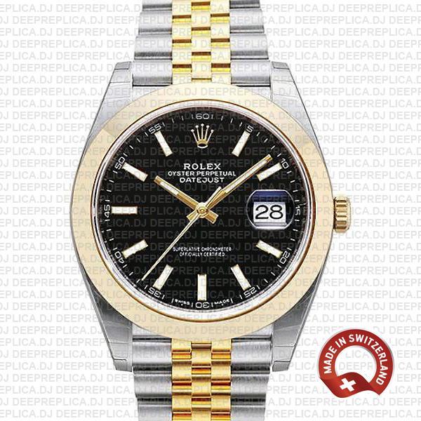 Rolex Datejust 41 Jubilee Two-Tone Black Dial Replica Watch