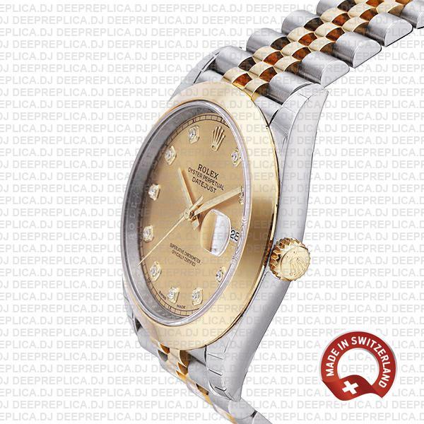 Rolex Datejust Jubilee Gold Diamond Dial Swiss Replica Watch