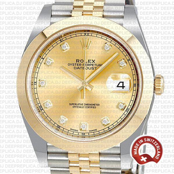 Rolex Datejust 41mm Jubilee 18k Yellow Gold Two-Tone, 904L Steel Smooth Bezel Gold Dial Diamonds Replica Watch