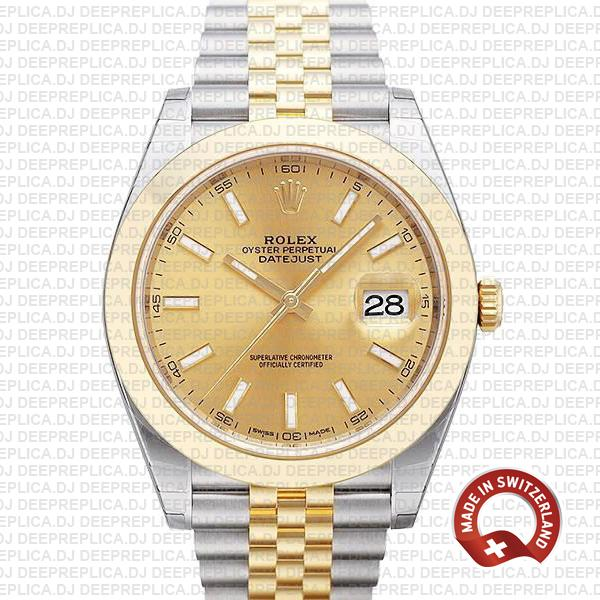 Rolex Datejust 41mm Two-Tone Gold Dial Jubilee Replica Watch