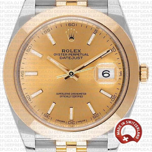 Rolex Datejust 41 18k Yellow Gold Two-Tone, Smooth Bezel Gold Dial 41mm Jubilee Bracelet Replica