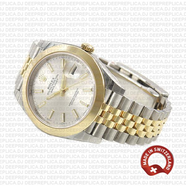 Rolex Datejust 41 18k Yellow Gold Jubilee Two-Tone Stainless Steel Smooth Bezel Silver Dial Replica Watch
