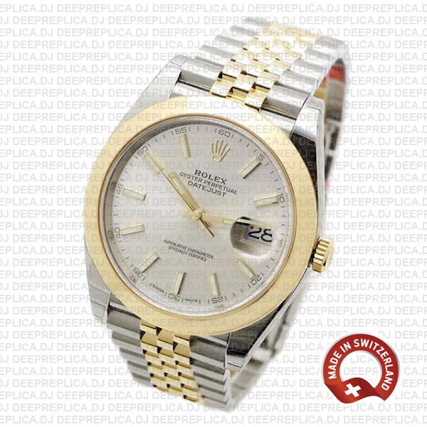 Rolex Datejust 41 18k Yellow Gold Jubilee Two-Tone Stainless Steel Smooth Bezel Silver Dial Replica