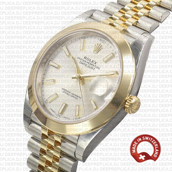 Rolex Datejust 41 18k Yellow Gold Jubilee Two-Tone Stainless Steel Smooth Bezel Silver Dial