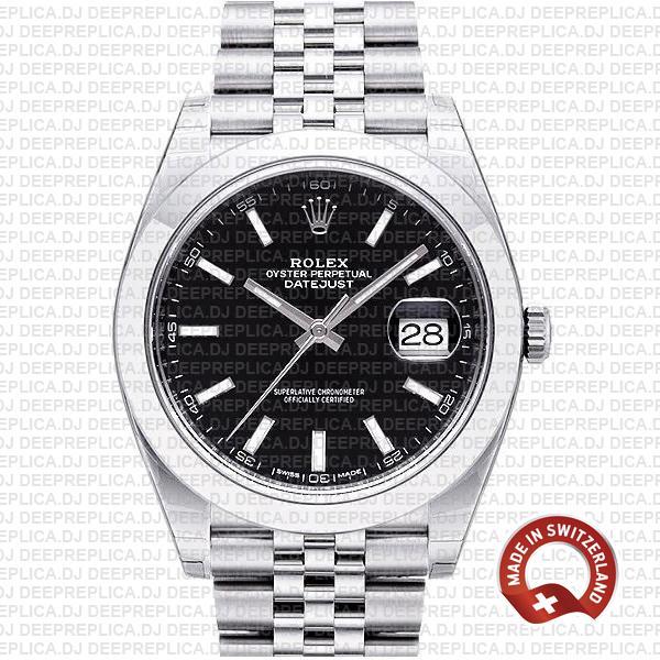 Rolex Datejust Smooth Bezel Black Dial   Rolex Replica Watch