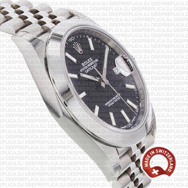 Rolex Datejust 41 Jubilee Steel Smooth Bezel Black Dial Stick Markers 126300 Swiss Replica