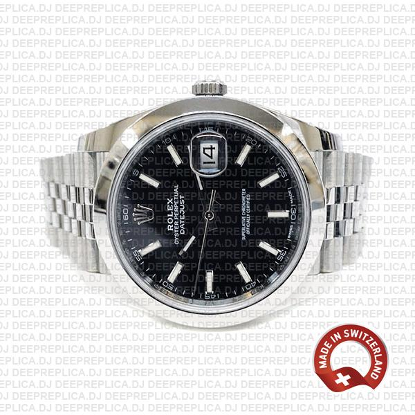 Replica Rolex Oyster Perpetual Datejust 41 Stainless Steel Black Dial, Jubilee Bracelet with Smooth Bezel