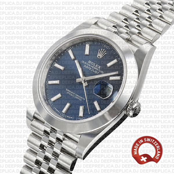 Rolex Oyster Perpetual Datejust 41mm 904L Steel Blue Dial with Smooth Bezel & Jubilee Bracelet Replica