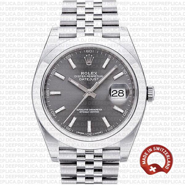 Rolex Datejust Grey Dial Steel Jubilee Bracelet Replica Watch