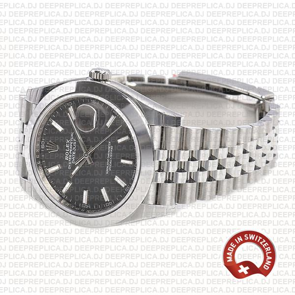 Rolex Datejust 41 Jubilee 904L Steel Smooth Bezel Dark Rhodium Grey Dial 41mm Waterproof Replica