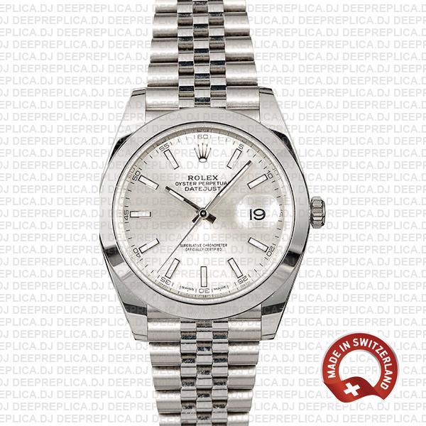 Rolex Datejust 41 Steel Silver Dial Best Swiss Replica Watch