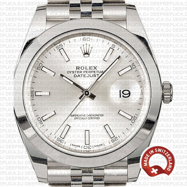 Rolex Datejust 41 Stainless Steel Silver Dial Rolex Replica Watch with Smooth & Fixed Bezel