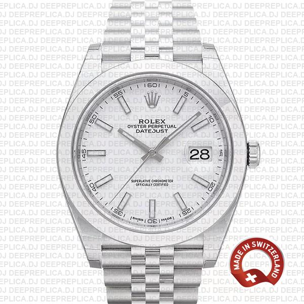 Replica Rolex Datejust 904L Stainless Steel White Dial 41mm with Jubilee Bracelet