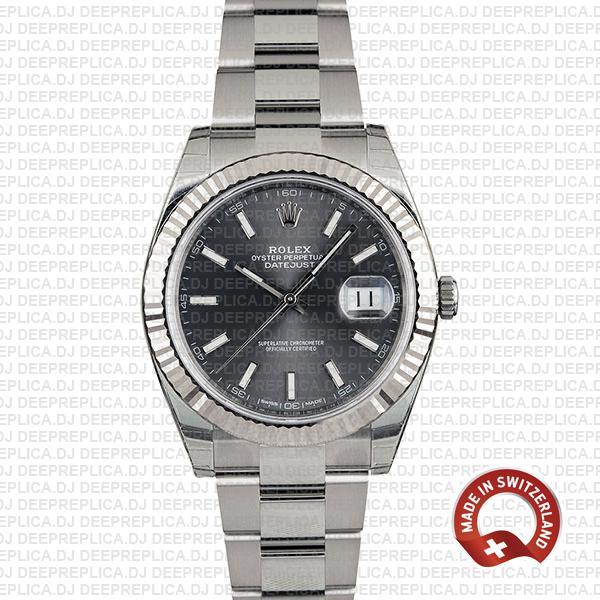Rolex Datejust 904L Stainless Steel Dark Rhodium Grey Dial 18k White Gold Fluted Bezel 41mm