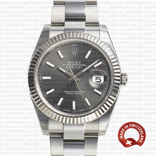Rolex Datejust 41 Dark Rhodium Grey Dial Rolex Replica Watch