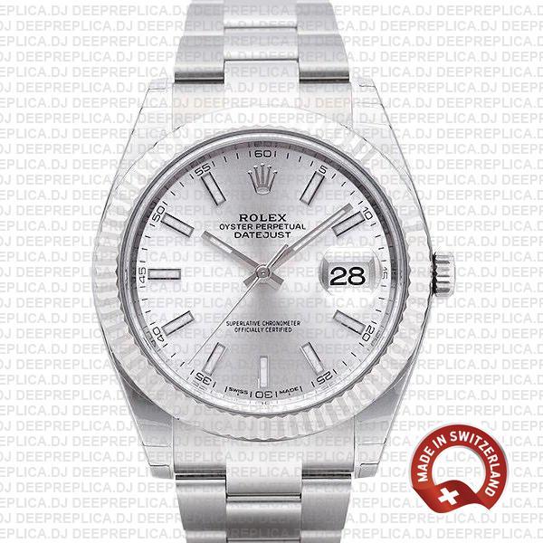 Rolex Datejust 41mm Silver Dial | Luxury Rolex Replica Watch