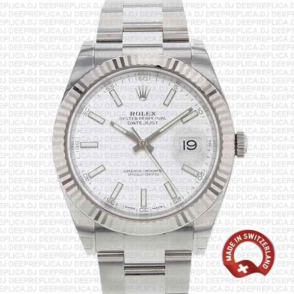 Rolex Datejust 41mm Stainless Steel White Dial Rolex Replica