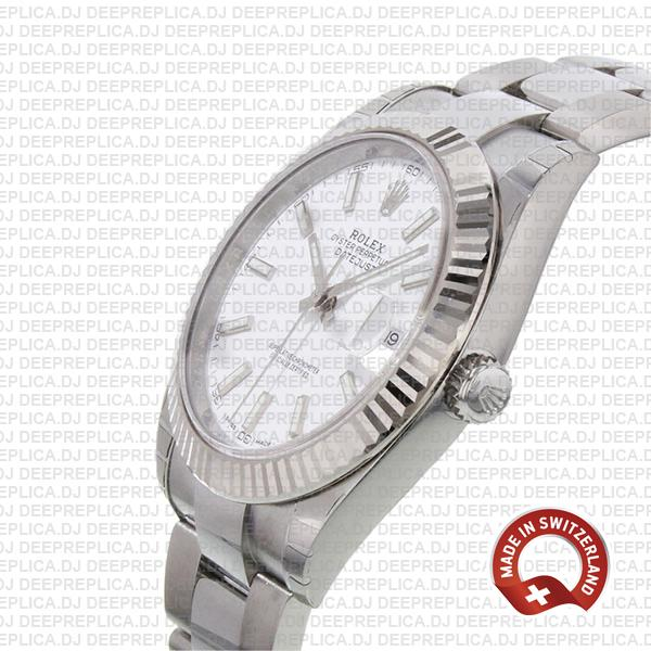 Rolex Datejust 41 904L Stainless Steel White Dial 18k White Gold Fluted Bezel 41mm with Oyster Bracelet
