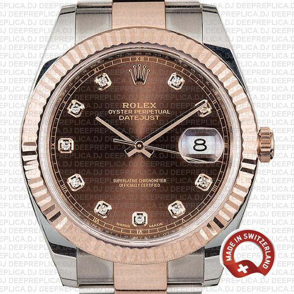 Rolex Datejust Two-Tone Chocolate Diamond Dial Swiss Replica Watch