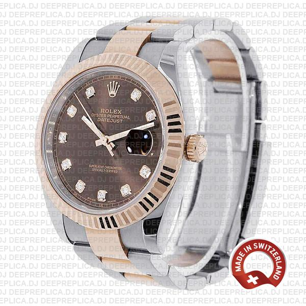 Rolex Datejust 41 18k Rose Gold Two-Tone, 904L Steel Fluted Bezel Chocolate Dial Diamond Markers 41mm Replica