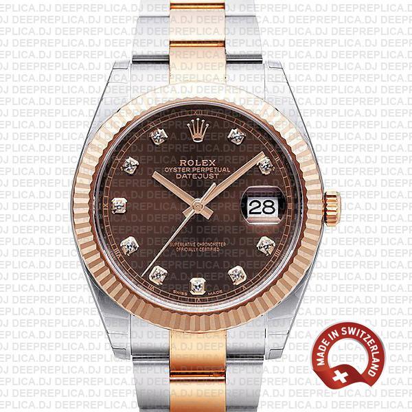 Rolex Datejust Two-Tone Chocolate Diamond Dial Replica WatchRolex Datejust Two-Tone Chocolate Diamond Dial Replica Watch