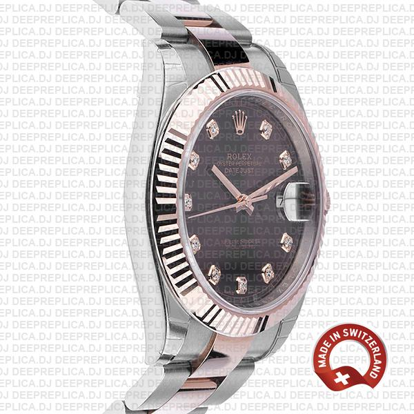 Rolex Datejust 41 18k Rose Gold Two-Tone, 904L Steel Fluted Bezel Chocolate Dial Diamond Markers 41mm