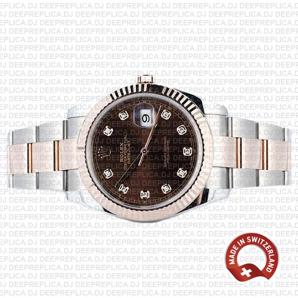 Rolex Datejust 41 18k Rose Gold Two-Tone, 904L Steel Fluted Bezel Chocolate Dial Diamond Markers 41mm Replica Watch