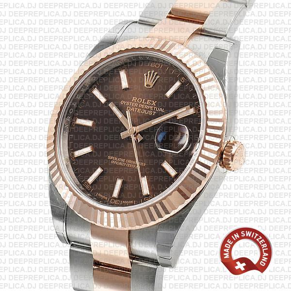 Rolex Datejust 41 Chocolate Dial Rose Gold Top Rolex Replica Watch