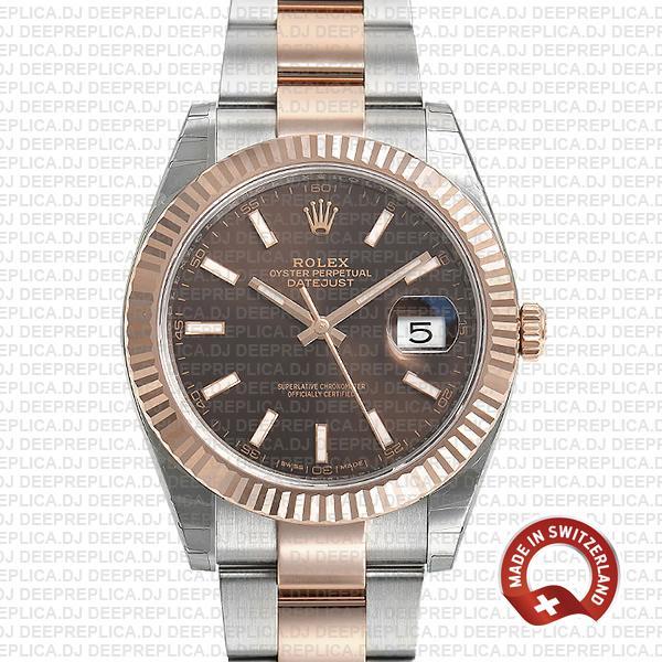 Rolex Datejust 41 Chocolate Dial Rose Gold Top Rolex Replica