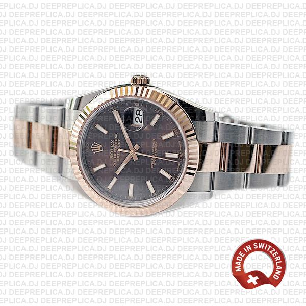 Rolex Datejust 18k Rose Gold Two-Tone, 904L Stainless Steel Fluted Bezel Chocolate Dial Replica Watch