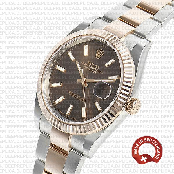 Rolex Datejust 18k Rose Gold Two-Tone, 904L Stainless Steel Fluted Bezel Chocolate Dial
