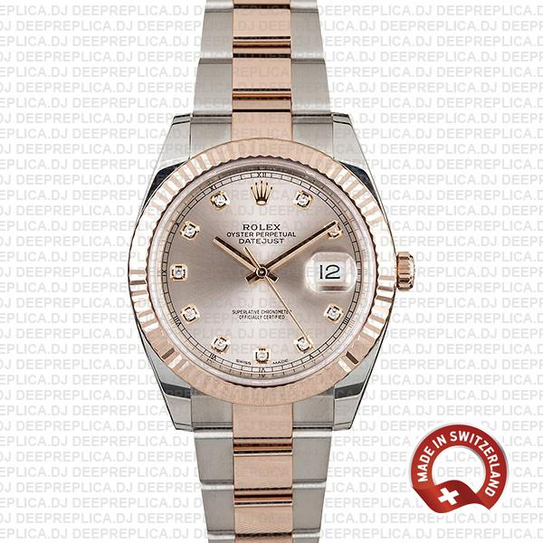 Rolex Datejust 41 Two-Tone Pink Dial Best Fake Rolex Replica Watch