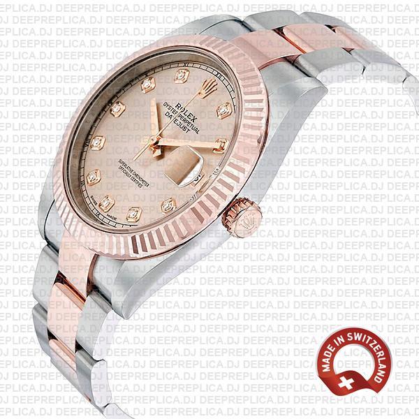 Rolex Datejust 18k Rose Gold Oyster Bracelet Two-Tone, Fluted Bezel Pink Diamond Dial 41mm Replica