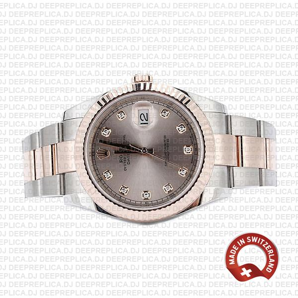 Rolex Datejust 18k Rose Gold Oyster Bracelet Two-Tone, Fluted Bezel Pink Diamond Dial 41mm