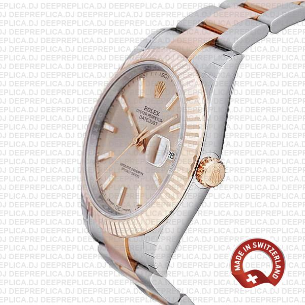 Rolex Oyster Perpetual Datejust 41 18k Rose Gold Two-Tone Pink Dial 904L Steel Fluted Bezel Oyster Bracelet Replica