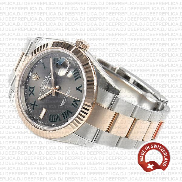 Rolex Datejust 18k Rose Gold Two-Tone Slate Grey Roman Dial, Stainless Steel Replica